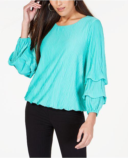 Alfani Textured Bubble-Sleeve Top, Created for Macy's