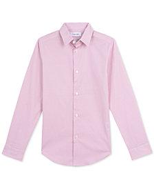 Calvin Klein Big Boys Slim-Fit Stretch Dot-Print Dress Shirt
