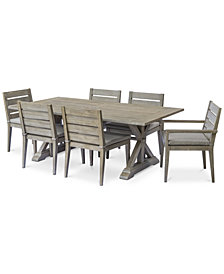 """Hadley Outdoor 7-Pc. Dining Set (84"""" x 42"""" Dining Farm Table, 2 Arm Chairs & 4 Dining Chairs) with Sunbrella® Cushions, Created For Macy's"""