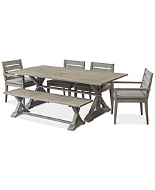 "Hadley Outdoor 6-Pc. Dining Set (84"" x 42"" Dining Farm Table, 2 Arm Chairs, 2 Dining Chairs & 1 Bench) with Sunbrella® Cushions, Created For Macy's"