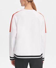 DKNY Sport Colorblocked Varsity-Stripe Top, Created for Macy's