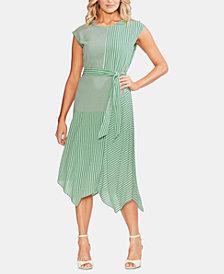 Vince Camuto Mixed-Print Handkerchief-Hem Dress