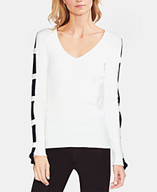 Vince Camuto Cotton Ribbed Embellished Sweater