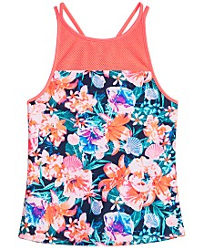 Ideology Big Girls Floral-Print Tankini Swim Top, Created for Macy's
