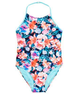 Big Girls 1-Pc. Floral-Print Swimsuit, Created for Macy's