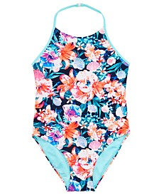 Ideology Big Girls 1-Pc. Floral-Print Swimsuit, Created for Macy's