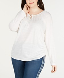 Style & Co Plus Size Tie-Neck Top, Created for Macy's