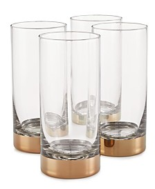 Hotel Collection Century Metallic Highball Glasses, Set of 4, Created for Macy's