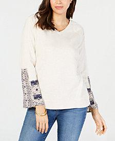 Style & Co Embellished-Sleeve Cotton Sweatshirt, Created for Macy's