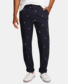 Nautica Men's Icon Classic-Fit Stretch Sailboat Printed Twill Deck Pants, Created for Macy's