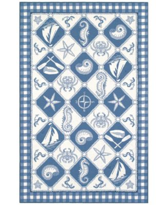 "Colonial Nautical Panel 1807 Blue/Ivory 2'6"" x 4'2"" Area Rug"