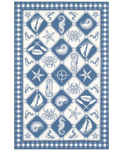 """Kas CLOSEOUT! Colonial Nautical Panel 1807 Blue/Ivory 2'6"""" x 4'2"""" Area Rug"""