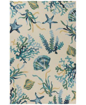 Harbor Oceana 4244 Ivory/Blue 2' x 3' Indoor/Outdoor Area Rug