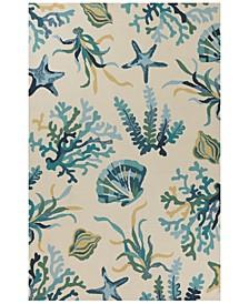 """Harbor Oceana 4244 Ivory/Blue 7'6"""" Indoor/Outdoor Round Area Rug"""