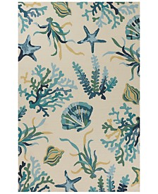 "KAS Harbor Oceana 4244 Ivory/Blue 5' x 7'6"" Indoor/Outdoor Area Rug"