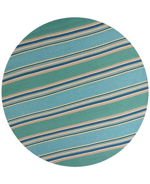 """Kas Harbor Stripes 4230 Ocean 7'6"""" Indoor/Outdoor Round Area Rug"""