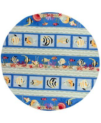 "CLOSEOUT! Sonesta Sea Views 2004 Blue 7'6"" Round Area Rug"