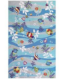 "KAS Sonesta Tropical Fish 2011 Blue 1'8"" x 2'6"" Area Rug"