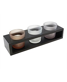 Lumabase Wooden Trio Tray with 3 Glass Votive Holders