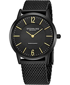 Original Stainless Steel Black Pvd Case on Mesh Bracelet, Black Dial, With Gold Tone Accents