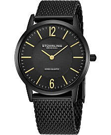 Stuhrling Original Stainless Steel Black Pvd Case on Mesh Bracelet, Black Dial, With Gold Tone Accents