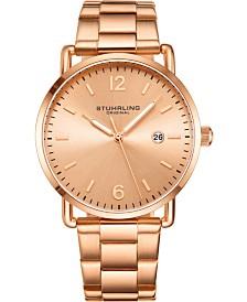 Stuhrling Original Men's Gold-Tone  Case and Bracelet, Gold Dial Watch