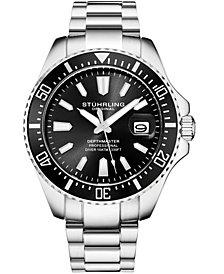 Stuhrling Original Men's Diver, Black  Dial, Red Bezel, Stainless Steel Bracelet Watch