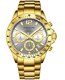 Stuhrling Original Men's Chrono, Grey Dial, Gold Bezel/Silver Case, Gold/Silver Bracelet Watch