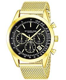 Stuhrling Original Men's Quartz Chronograph Date Watch, Gold Tone Alloy Case, Black Dial, Gold Tone Stainless Steel Mesh Bracelet