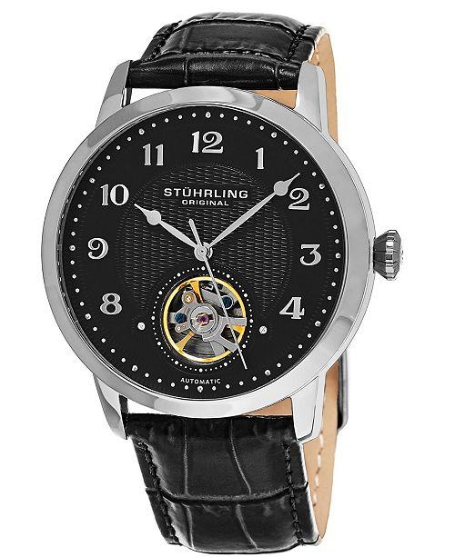 Stuhrling Original Men's Automatic, Silver Case Open Heart Black Leather Strap Watch