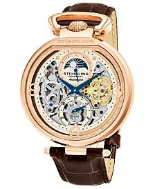 Stuhrling Original Men's Automatic Dual Time Watch, Rose Tone Case, Beige Skeleton Dial, Brown Genuine Leather Strap