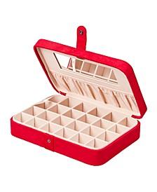 Maria Plush Fabric Jewelry Box with Twenty-Four Sections
