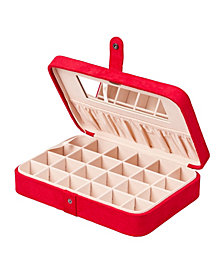 Mele & Co. Maria Plush Fabric Jewelry Box with Twenty-Four Sections