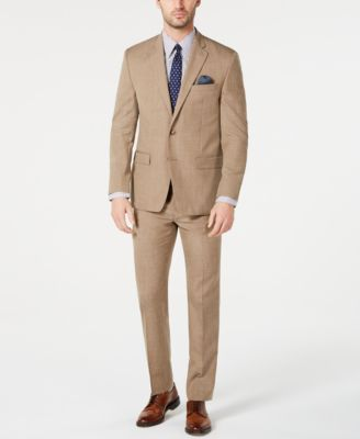 Men's Classic-Fit UltraFlex Stretch Light Brown Textured Suit Jacket