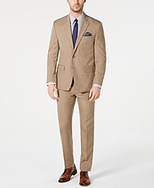 Men's Classic-Fit UltraFlex Stretch Light Brown Textured Suit Separates