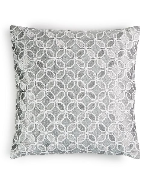 "Charter Club Embroidered Metal Geo 16"" x 16"" Decorative Pillow, Created for Macy's"