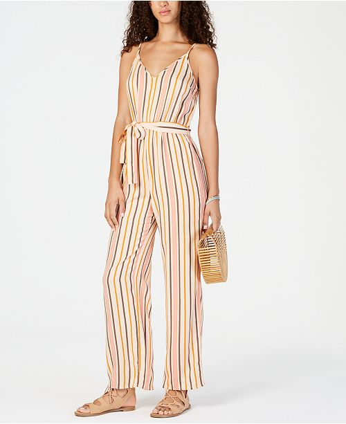 Roxy Juniors' Cha Cha For Now Striped Jumpsuit