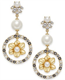kate spade new york Gold-Tone Imitation Pearl Floral Statement Earrings