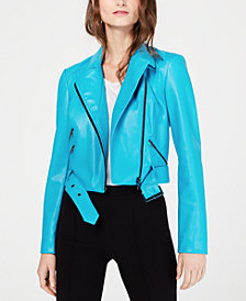 I.N.C. Contrast-Zip Faux-Leather Moto Jacket, Created for Macy's