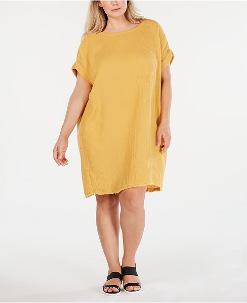 Eileen Fisher Plus Size Cotton Textured Dress