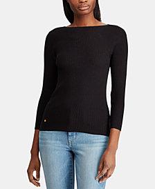 Lauren Ralph Lauren Boatneck ¾ Sleeve Ribbed Sweater