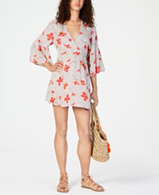 Billabong Juniors' Mixed-Print Bell-Sleeve Dress