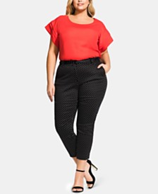 City Chic Trendy Plus Size Belted Printed Slim Pants