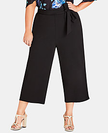 City Chic Trendy Plus Size Cropped Wide-Leg Pants