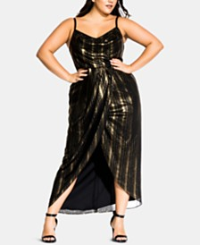City Chic Trendy Plus Size Glitter Lines Draped Dress
