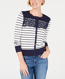 Charter Club Petite Striped Lace-Trim Cardigan, Created for Macy's
