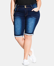 City Chic Trendy Plus Size Killer Pins Denim Shorts