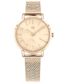 Tommy Hilfiger Women's  Rose Gold-Tone Mesh Bracelet Watch 30mm, Created for Macy's