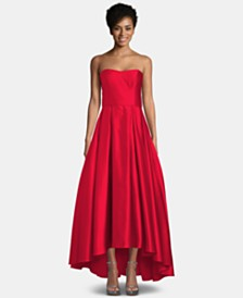 Betsy & Adam Strapless High-Low Ballgown