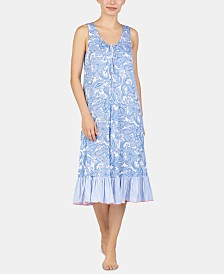 Ellen Tracy Printed Ruffled Hem Knit Nightgown